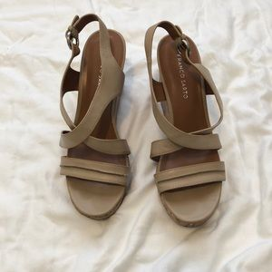 Comfortable neutral colored strappy wedge